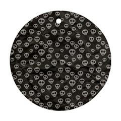 Skull Halloween Background Texture Ornament (round)