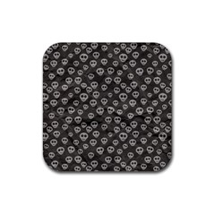 Skull Halloween Background Texture Rubber Square Coaster (4 Pack)  by BangZart