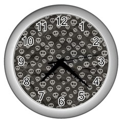 Skull Halloween Background Texture Wall Clocks (silver)  by BangZart