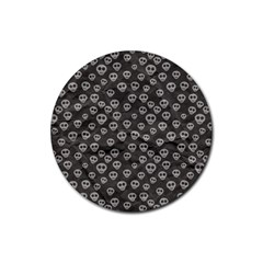Skull Halloween Background Texture Rubber Coaster (round)  by BangZart