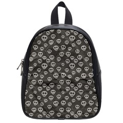 Skull Halloween Background Texture School Bags (small)