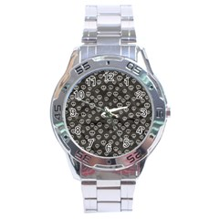 Skull Halloween Background Texture Stainless Steel Analogue Watch by BangZart