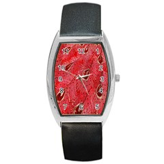 Red Peacock Floral Embroidered Long Qipao Traditional Chinese Cheongsam Mandarin Barrel Style Metal Watch