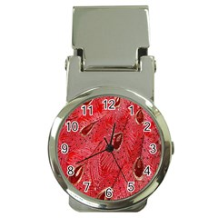 Red Peacock Floral Embroidered Long Qipao Traditional Chinese Cheongsam Mandarin Money Clip Watches