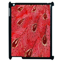 Red Peacock Floral Embroidered Long Qipao Traditional Chinese Cheongsam Mandarin Apple Ipad 2 Case (black) by BangZart