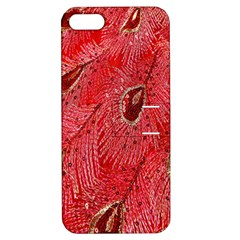 Red Peacock Floral Embroidered Long Qipao Traditional Chinese Cheongsam Mandarin Apple Iphone 5 Hardshell Case With Stand