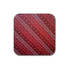 Red Batik Background Vector Rubber Square Coaster (4 Pack)  by BangZart