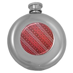 Red Batik Background Vector Round Hip Flask (5 Oz) by BangZart