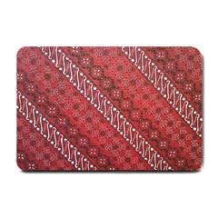 Red Batik Background Vector Small Doormat  by BangZart