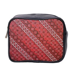 Red Batik Background Vector Mini Toiletries Bag 2 Side