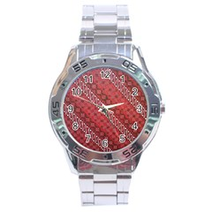 Red Batik Background Vector Stainless Steel Analogue Watch by BangZart