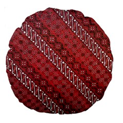 Red Batik Background Vector Large 18  Premium Round Cushions by BangZart