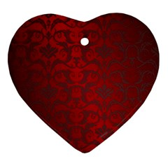 Red Dark Vintage Pattern Ornament (heart) by BangZart