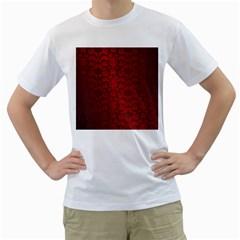 Red Dark Vintage Pattern Men s T Shirt (white) (two Sided)