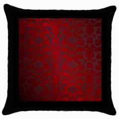 Red Dark Vintage Pattern Throw Pillow Case (black)