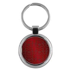 Red Dark Vintage Pattern Key Chains (round)