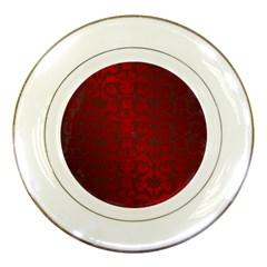 Red Dark Vintage Pattern Porcelain Plates by BangZart