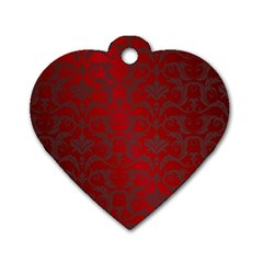 Red Dark Vintage Pattern Dog Tag Heart (one Side)