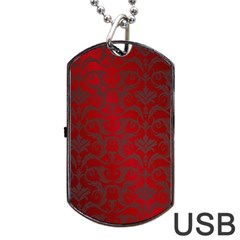 Red Dark Vintage Pattern Dog Tag Usb Flash (one Side) by BangZart