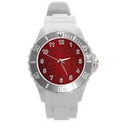 Red Dark Vintage Pattern Round Plastic Sport Watch (l) by BangZart