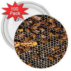 Queen Cup Honeycomb Honey Bee 3  Buttons (100 Pack)  by BangZart