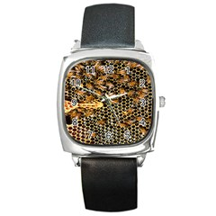 Queen Cup Honeycomb Honey Bee Square Metal Watch
