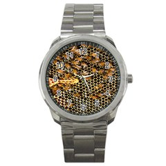 Queen Cup Honeycomb Honey Bee Sport Metal Watch