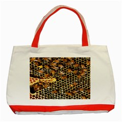 Queen Cup Honeycomb Honey Bee Classic Tote Bag (red)