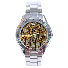 Queen Cup Honeycomb Honey Bee Stainless Steel Analogue Watch