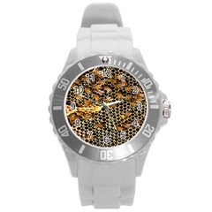 Queen Cup Honeycomb Honey Bee Round Plastic Sport Watch (l)