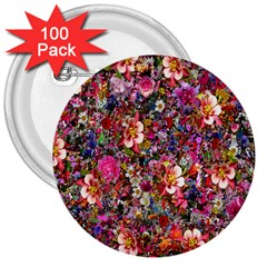Psychedelic Flower 3  Buttons (100 Pack)