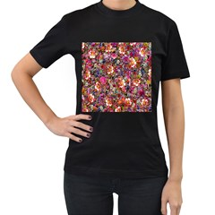 Psychedelic Flower Women s T Shirt (black) (two Sided)