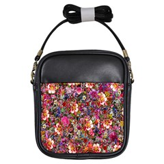 Psychedelic Flower Girls Sling Bags by BangZart