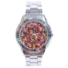 Psychedelic Flower Stainless Steel Analogue Watch by BangZart