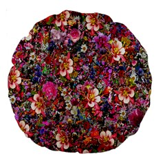 Psychedelic Flower Large 18  Premium Round Cushions by BangZart