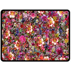 Psychedelic Flower Double Sided Fleece Blanket (large)  by BangZart