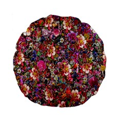 Psychedelic Flower Standard 15  Premium Flano Round Cushions by BangZart