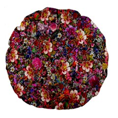 Psychedelic Flower Large 18  Premium Flano Round Cushions by BangZart