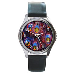 Pretty Peacock Feather Round Metal Watch