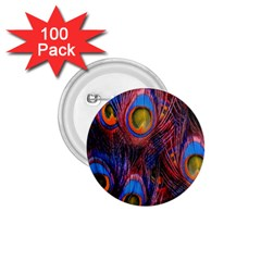 Pretty Peacock Feather 1 75  Buttons (100 Pack)