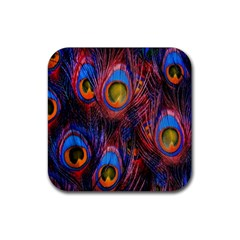 Pretty Peacock Feather Rubber Square Coaster (4 Pack)  by BangZart