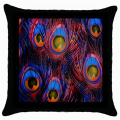 Pretty Peacock Feather Throw Pillow Case (black) by BangZart