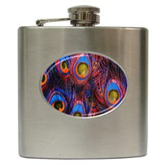 Pretty Peacock Feather Hip Flask (6 Oz)