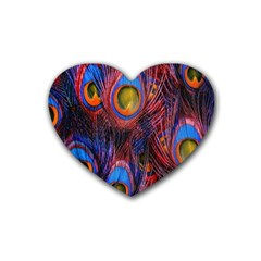 Pretty Peacock Feather Rubber Coaster (heart)  by BangZart