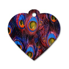 Pretty Peacock Feather Dog Tag Heart (one Side) by BangZart