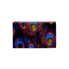 Pretty Peacock Feather Cosmetic Bag (small)