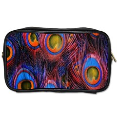 Pretty Peacock Feather Toiletries Bags 2 Side by BangZart