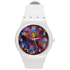 Pretty Peacock Feather Round Plastic Sport Watch (m) by BangZart
