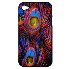 Pretty Peacock Feather Apple Iphone 4/4s Hardshell Case (pc+silicone) by BangZart