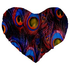 Pretty Peacock Feather Large 19  Premium Heart Shape Cushions by BangZart